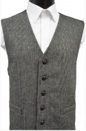 Black/White Fine Herringbone Wool Handle Waistcoat