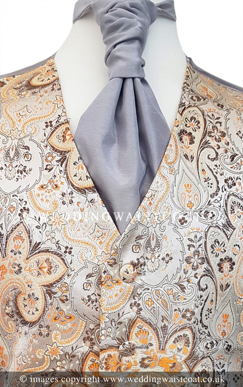 7bdc1e10d60f Champagne with Gold Floral Pattern Wedding Waistcoat NEW! - Wedding  Waistcoat