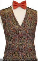 Gold, Red & Black Embroidered Paisley Pattern Dress Waistcoat