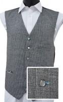 Black & Grey Dogtooth 1857 Wool Handle Waistcoat