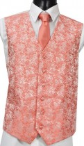 Dark Coral Brocade Pattern Wedding Waistcoat NEW!