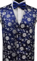 Navy & White Floral Pattern Dress Waistcoat CLEARANCE ITEM! (XXL)