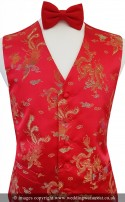 Red with Gold Dragon Embroidery Oriental Theme Dress Waistcoat