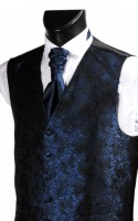 Midnight Blue Embroidered Finish Wedding Waistcoat CLEARANCE ITEM! (XXL)