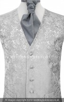 Silver Grey Embroidered Finish Wedding Waistcoat