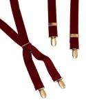 Wine Colour Mens Trouser Braces Narrow X Shape