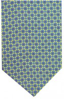 Yellow and Blue Circle Silk Self Tie Cravat