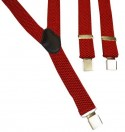 Red Suede Effect Mens Trouser Braces Y Shape