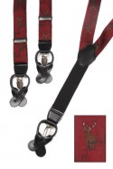 Stags on Wine Colour Trouser Braces Y Shape Convertible Fasteners