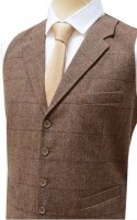 Brown Herringbone Tailored Fit Wool Handle Waistcoat with Blue Check