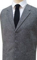 Light Grey Tailored Fit Wool Handle Waistcoat