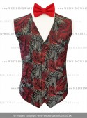 Red, White & Black Embroidered Peacock Feather Dress Waistcoat