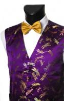 Purple Mayfly Pattern Dress Waistcoat CLEARANCE ITEM!