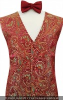 Wine Embroidered Paisley Pattern Dress Waistcoat