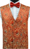 Red Paisley Waistcoat - Dress Waistcoat with Floral inspired Design