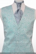 New For 2017! Stunning Turquoise Waistcoat with subtle peacock embroidery