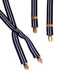Black and White Stripe Mens Trouser Braces Narrow X Shape