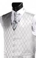 Silver Grey Diamond Weave Wedding Waistcoat