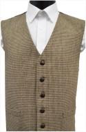 Brown Dogtooth Wool Handle Waistcoat