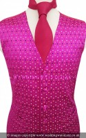 Fuchsia Pink Multi Colour Spot Dress Waistcoat