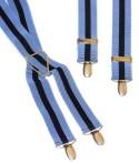 Blue and Navy Stripe Mens Trouser Braces X Shape
