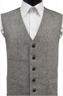 Black/White Herringbone Wool Handle Waistcoat