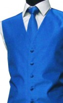 Kingfisher Blue Shantung Weave Wedding Waistcoat