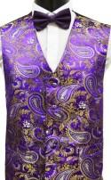 Purple & Gold Paisley Pattern Dress Waistcoat CLEARANCE ITEM!