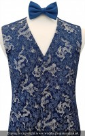 Blue & Silver Embroidered Dragon Dress Waistcoat