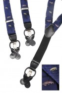 Fly Fishing Navy Blue Trouser Braces Y Shape Convertible Fasteners
