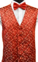 Red Brocade Floral Pattern Dress Waistcoat